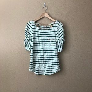 Anthropologie Postmark Striped Ruched Sleeve Top